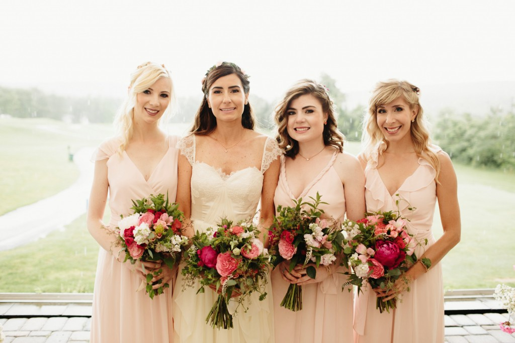 Pink Bouquets  with Peonies and Roses